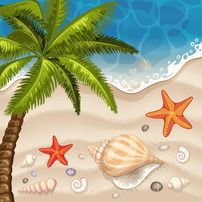 矢量抽象现代夏季海滨插图设计