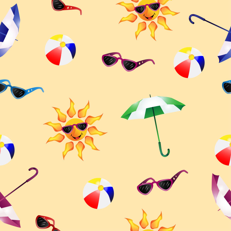 抽象矢量现代夏日度假主题元素背景设计