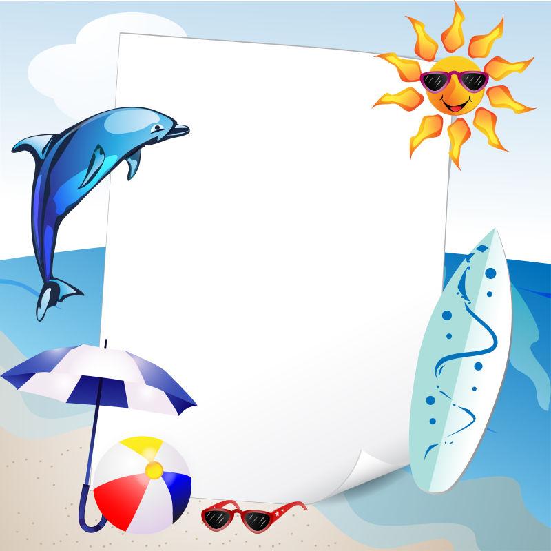 抽象矢量现代度假海滩平面设计插图