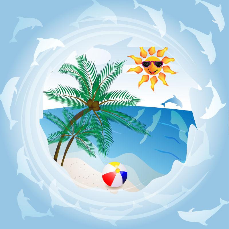 创意矢量夏日海滩平面插图设计