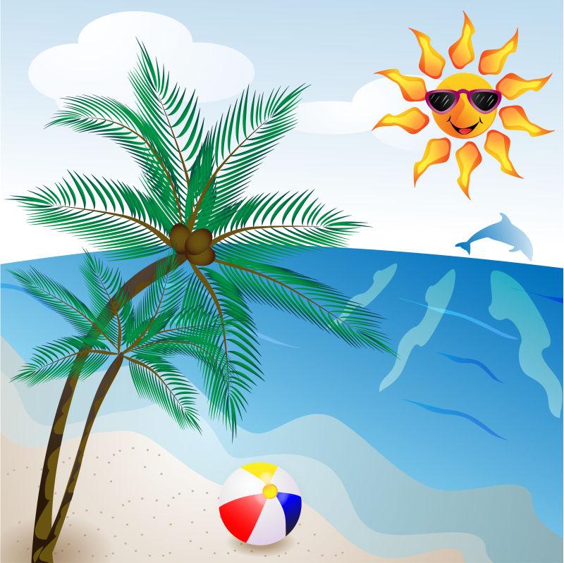 抽象矢量夏季度假海滩主题插图