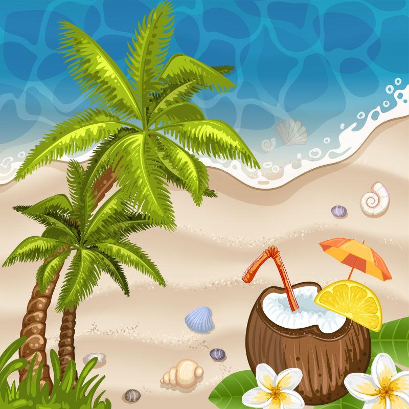 创意矢量度假海滩平面插图设计