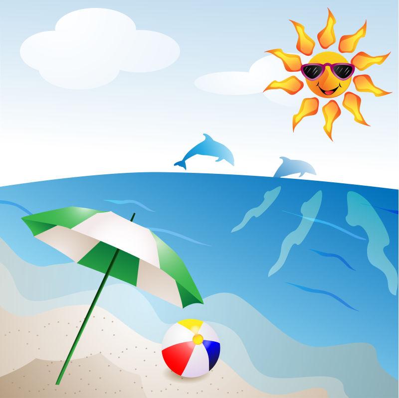 抽象矢量现代度假海滩主题插图设计