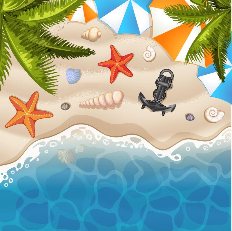 抽象矢量现代度假海滩平面插图设计