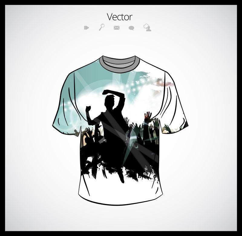 矢量抽象现代派对主题的T恤设计