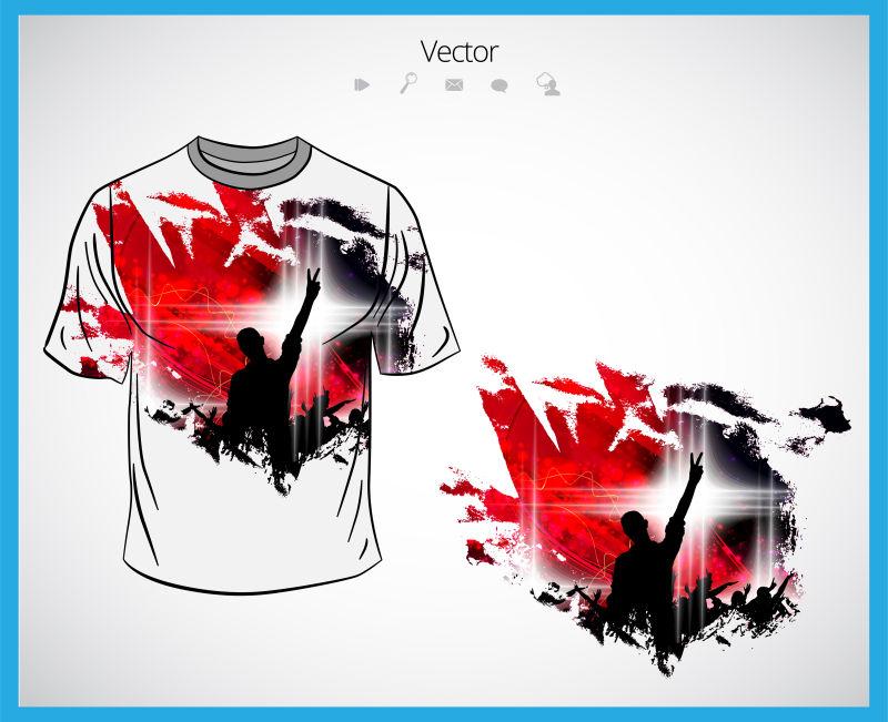 抽象矢量音乐会主题的T恤设计