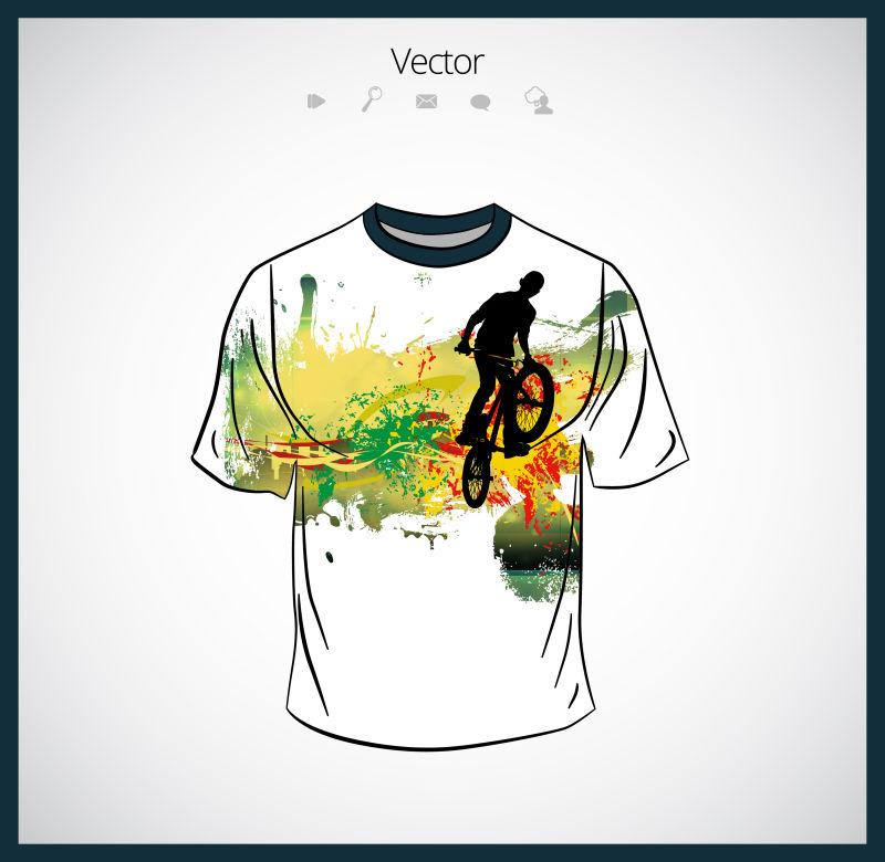 抽象矢量现代自行车元素的T恤设计