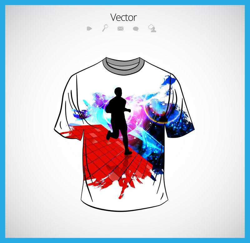 抽象矢量现代运动主题的T恤设计