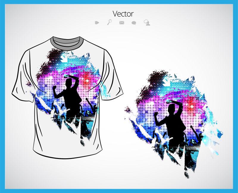 抽象矢量现代派对主题的T恤设计
