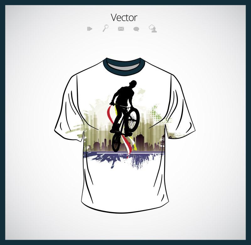 创意矢量自行车元素的T恤设计