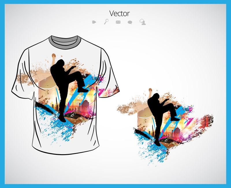 创意矢量现代舞者元素的T恤设计