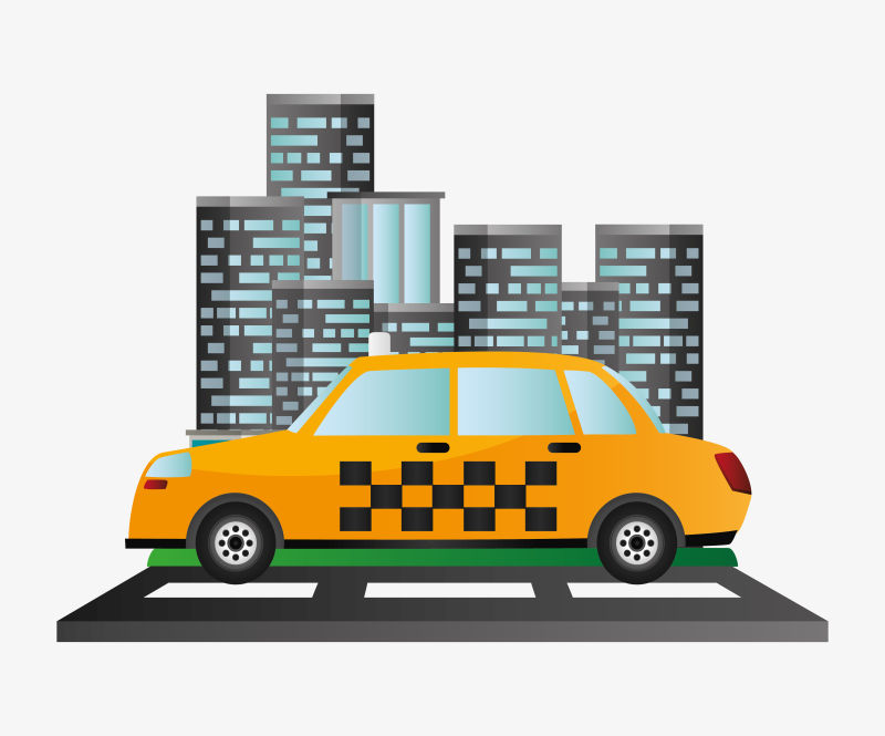 出租车服务公共交通城市背景矢量图解EPS 10