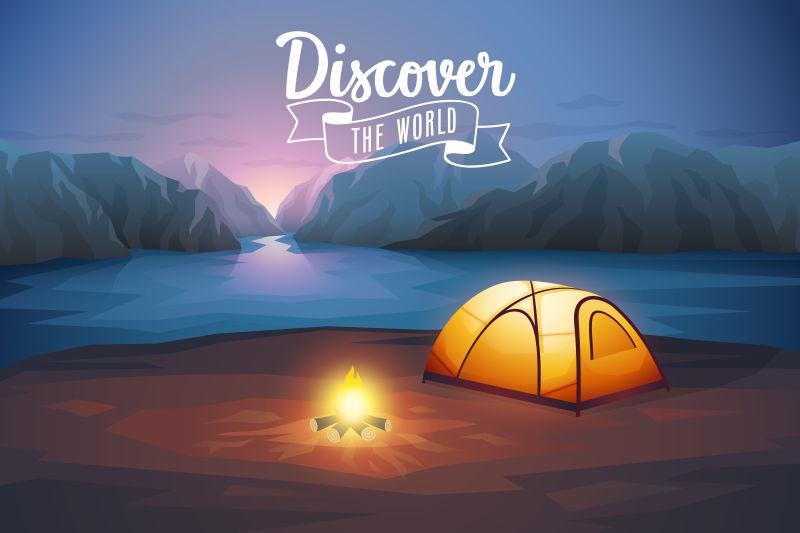 创意矢量现代露营探索主题的平面设计插图