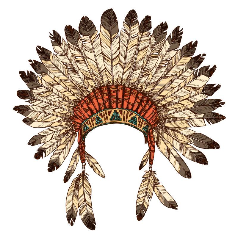 手工绘制的印第安印第安头饰-印度部落首领羽毛帽矢量彩色插图