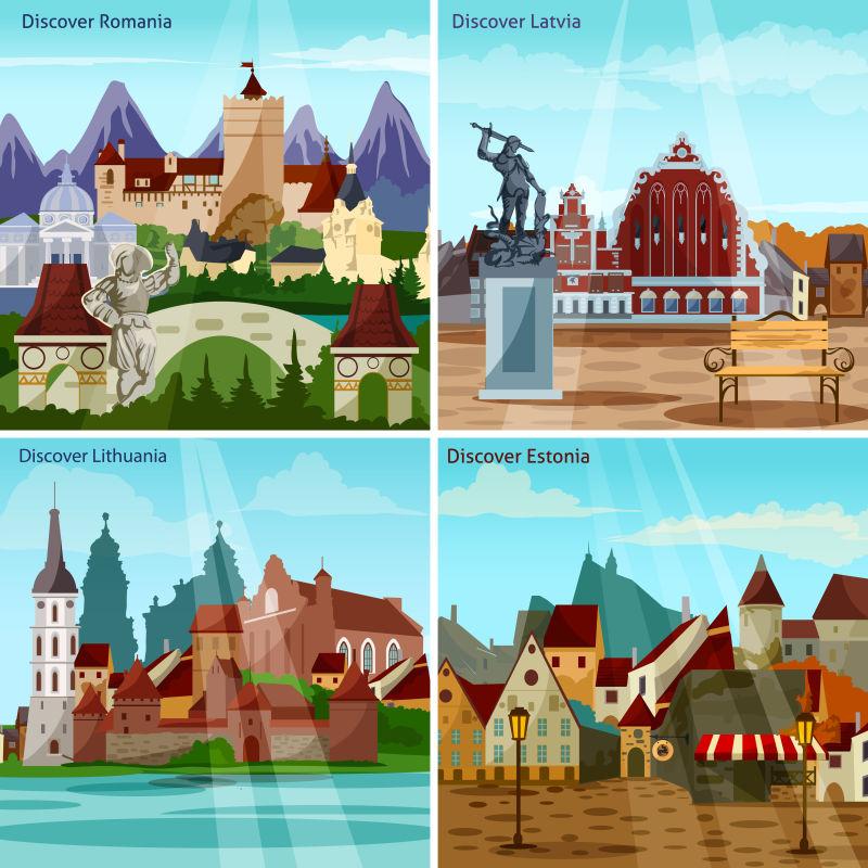 欧洲城市景观概念图标集