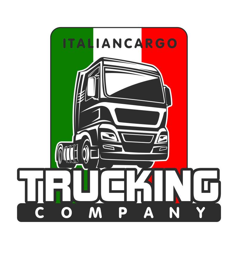 创意卡车的矢量复古标志设计