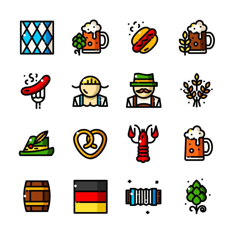 创意矢量现代手绘啤酒主题图标设计