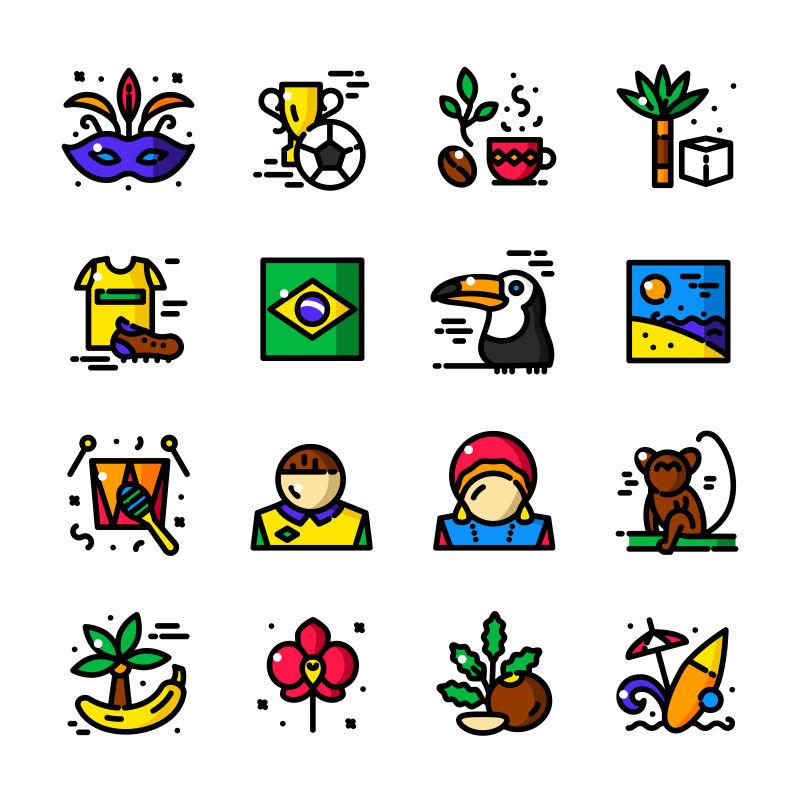 矢量现代彩色手绘巴西主题图标设计