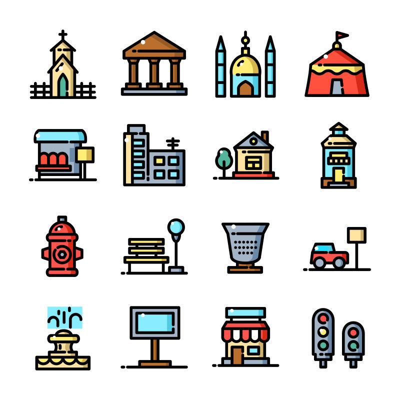 抽象矢量手绘彩色城市主题图标设计