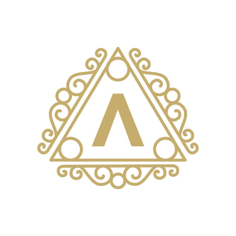 抽象矢量现代金色花纹元素装饰的字母a标志设计