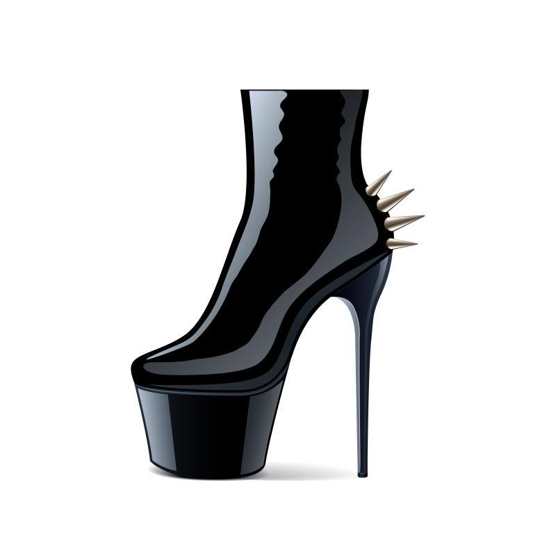 黑色皮革高山靴矢量