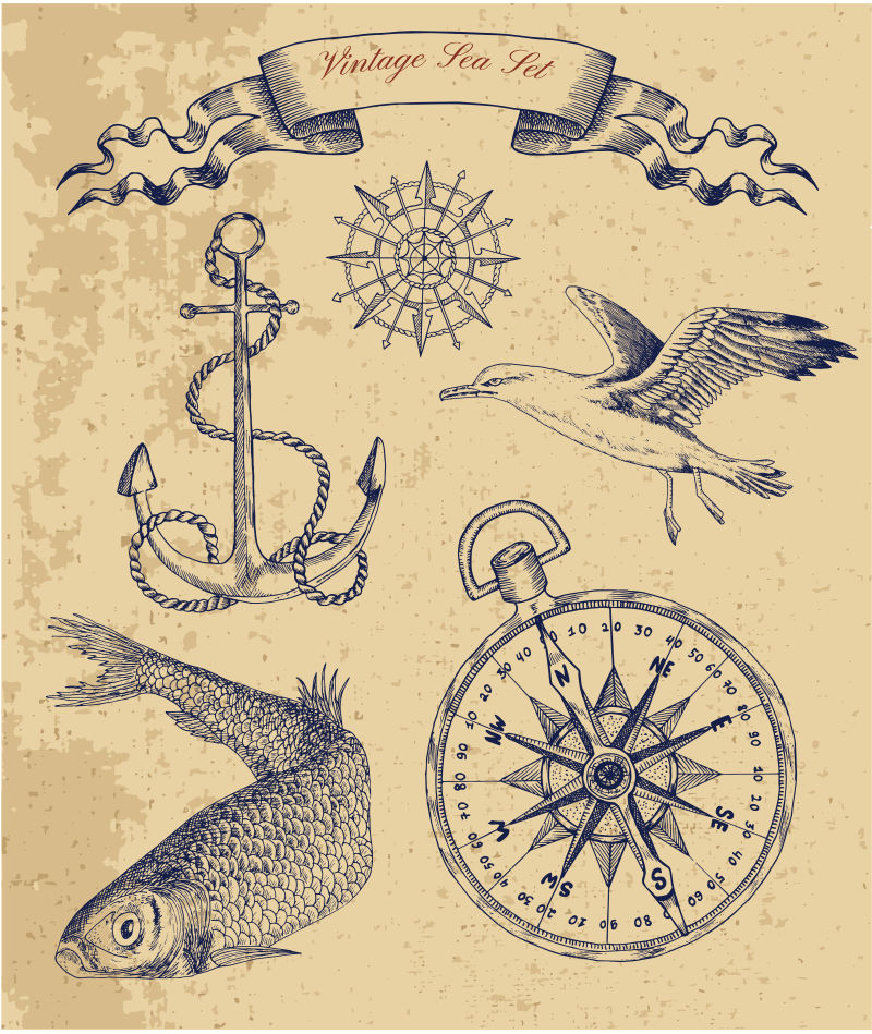抽象矢量手绘海上物品元素插图