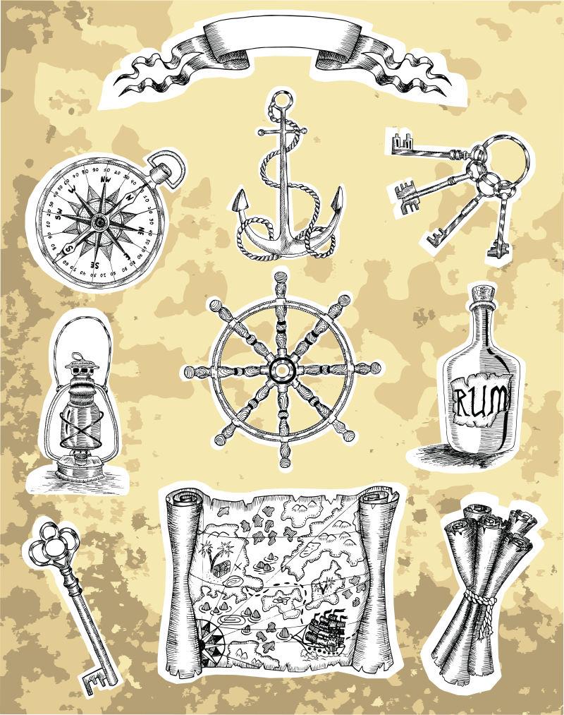 矢量手绘古老的海盗物品插图