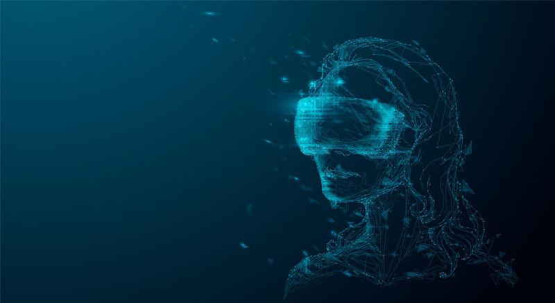 创意矢量戴着虚拟眼镜的女孩插图