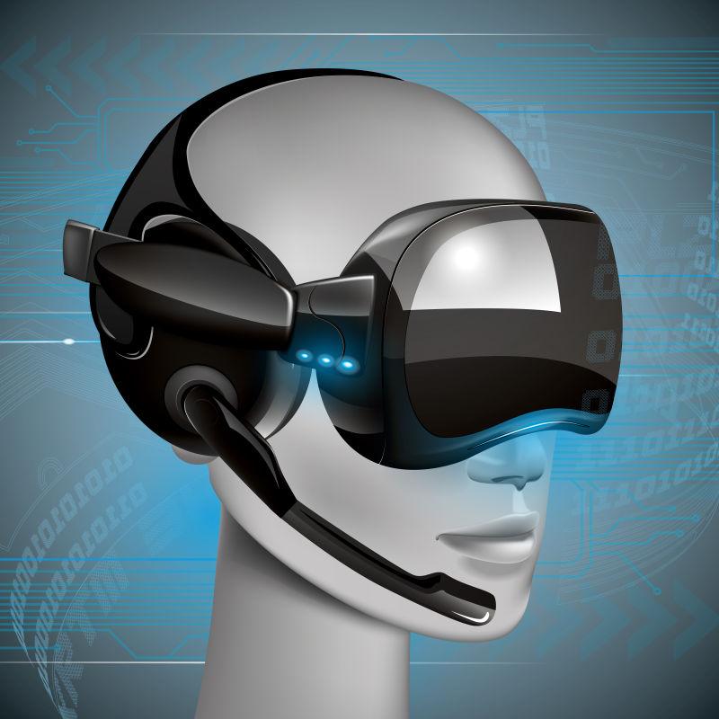 创意矢量戴虚拟眼镜的人插图