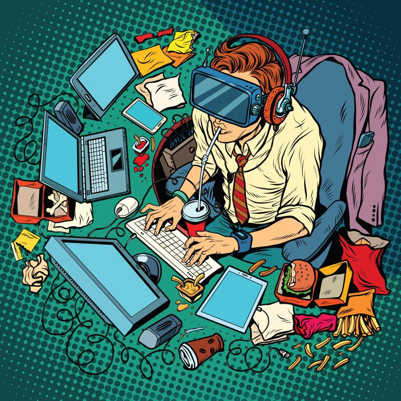 抽象矢量卡通虚拟现实中工作的人插图