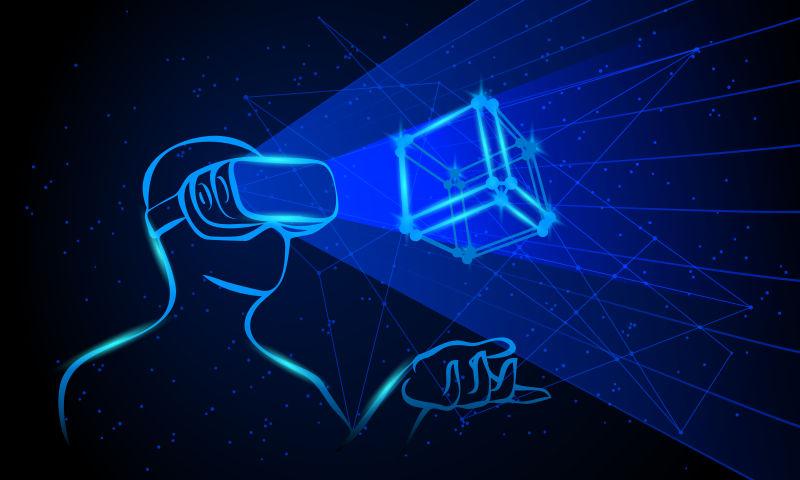 抽象矢量现代戴虚拟眼镜的男人插图