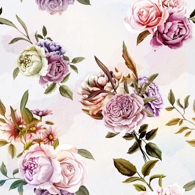 抽象美丽花卉元素的背景设计