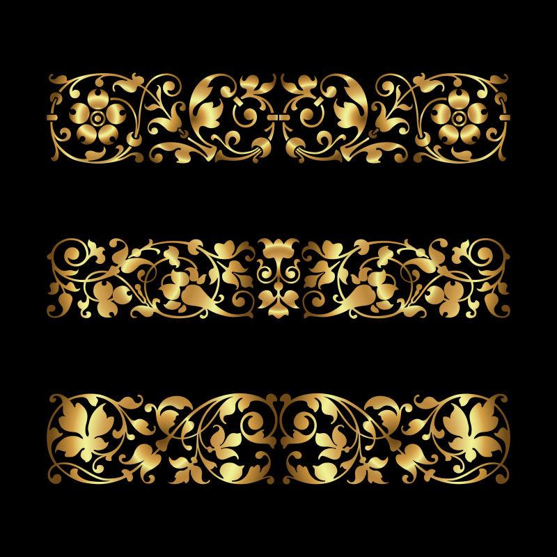 矢量的金色花边装饰设计