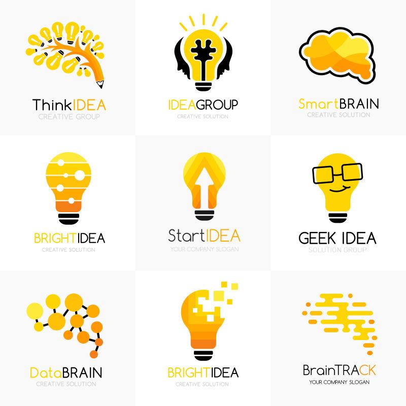创意的黄色电灯标志矢量设计