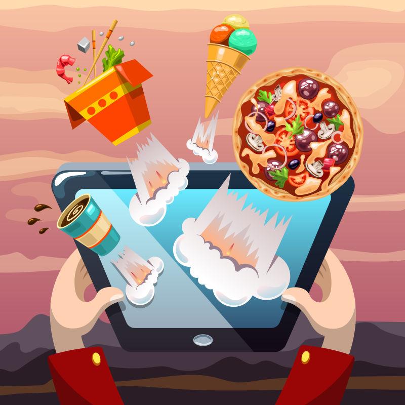抽象矢量现代网上订餐概念的平面插图设计