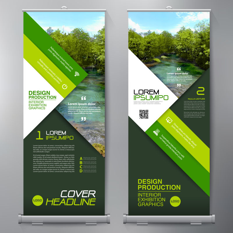 矢量创意绿色商业竖横幅设计