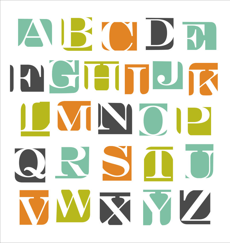 创意矢量现代彩色方块里的字体设计