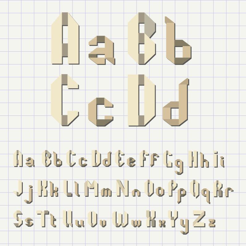 创意矢量折纸风格的字体设计