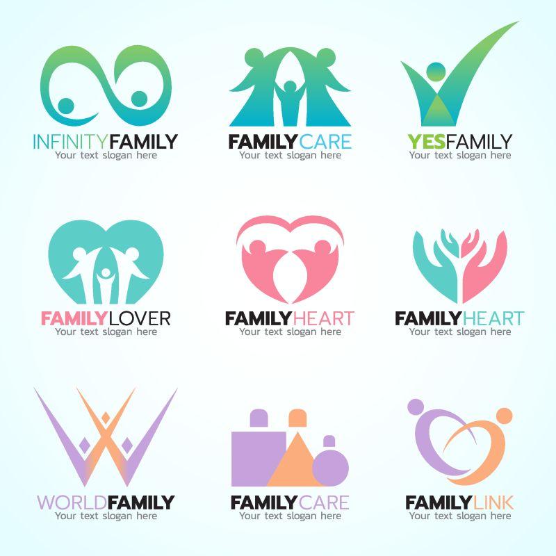 创意矢量彩色团队主题标志平面设计