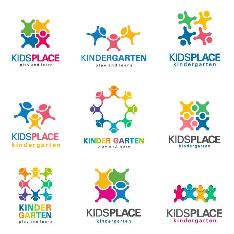 创意矢量彩色团队主题平面标志设计