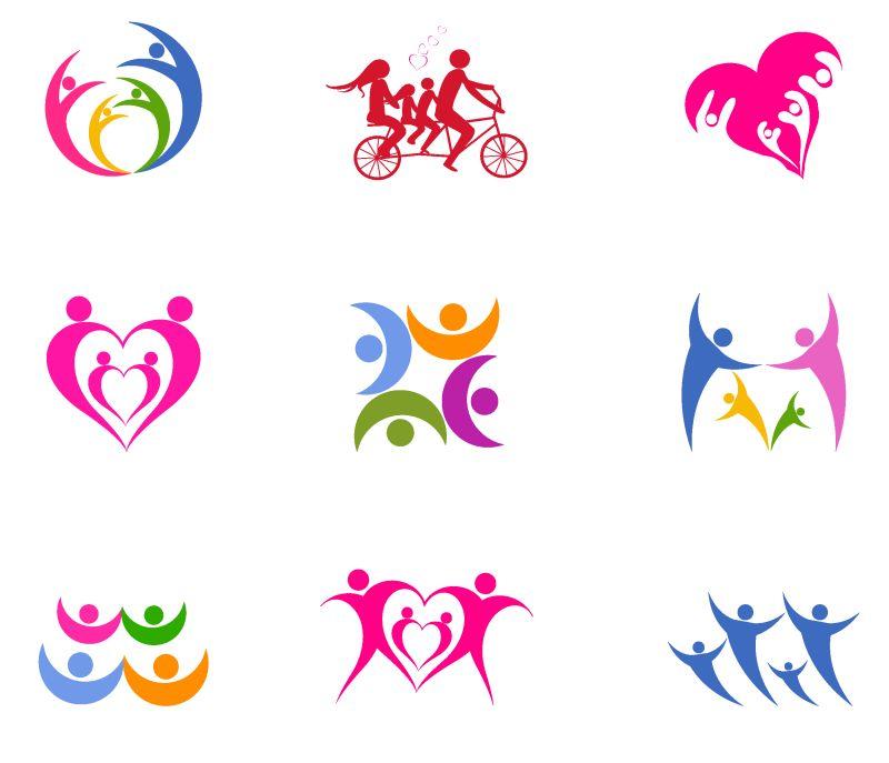 创意矢量现代彩色时尚团队主题标志设计