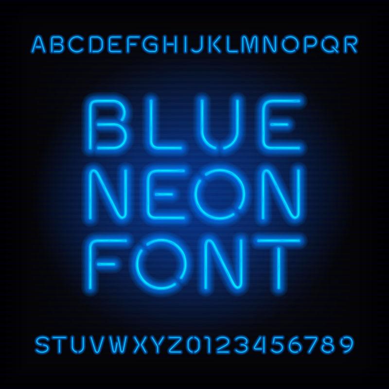创意矢量蓝色霓虹灯风格的字体设计