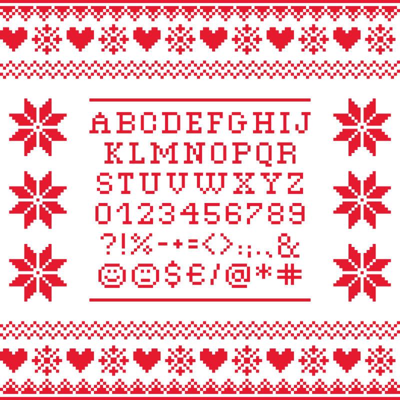 创意矢量现代红色像素风格的字体设计