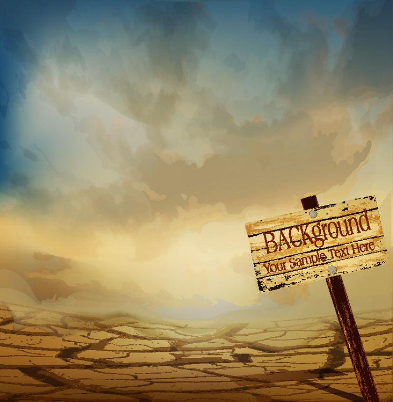 矢量干旱的沙漠