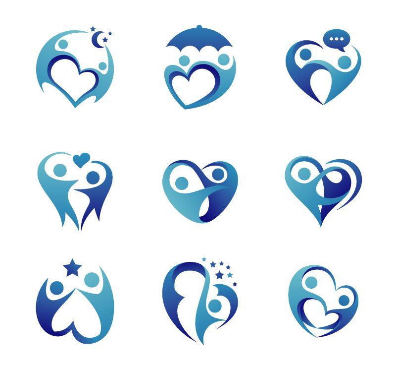 抽象矢量关爱家庭主题的蓝色标志设计