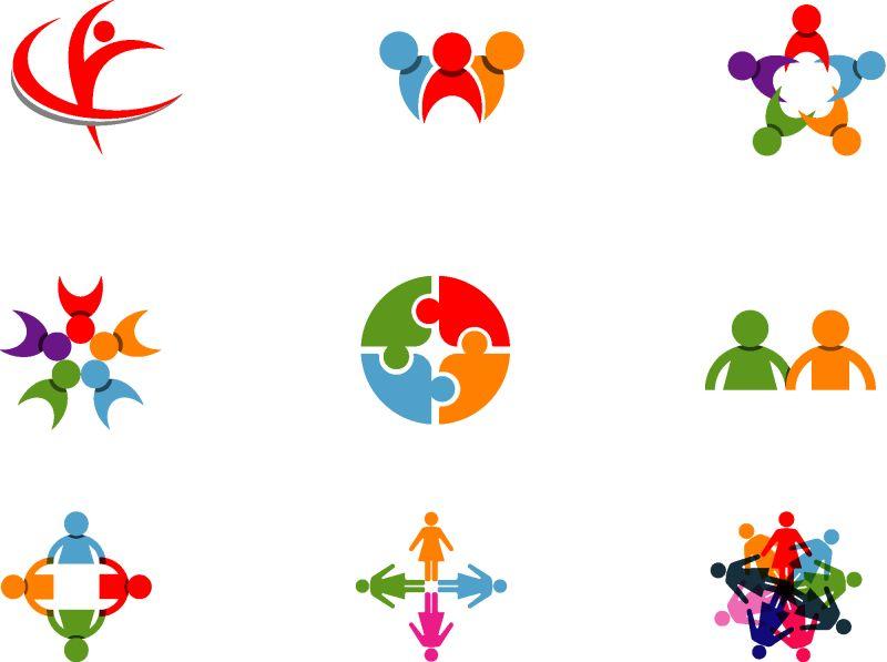 创意矢量彩色团队主题标志设计
