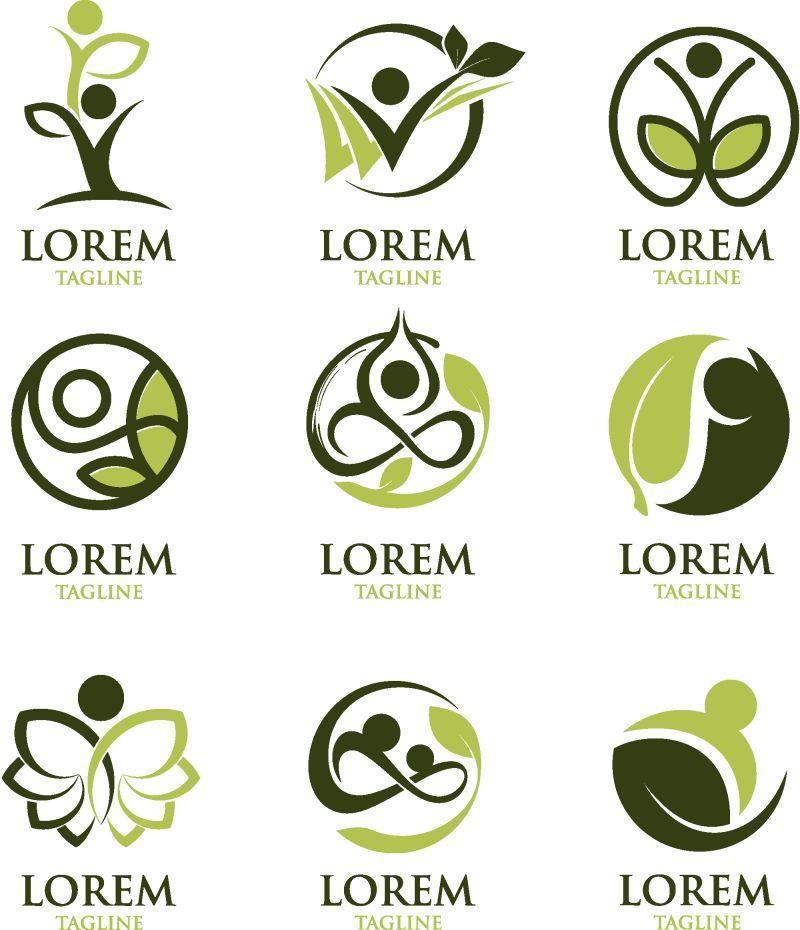 抽象矢量现代绿叶元素的瑜伽主题标志设计