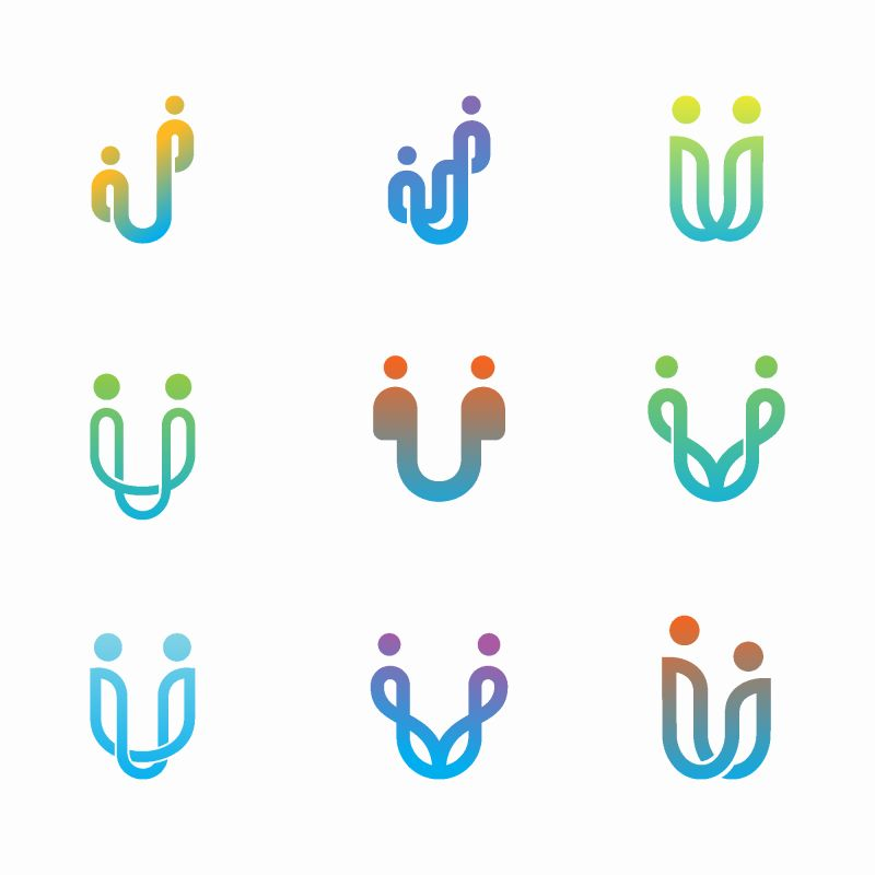 抽象矢量现代家庭主题的标志设计