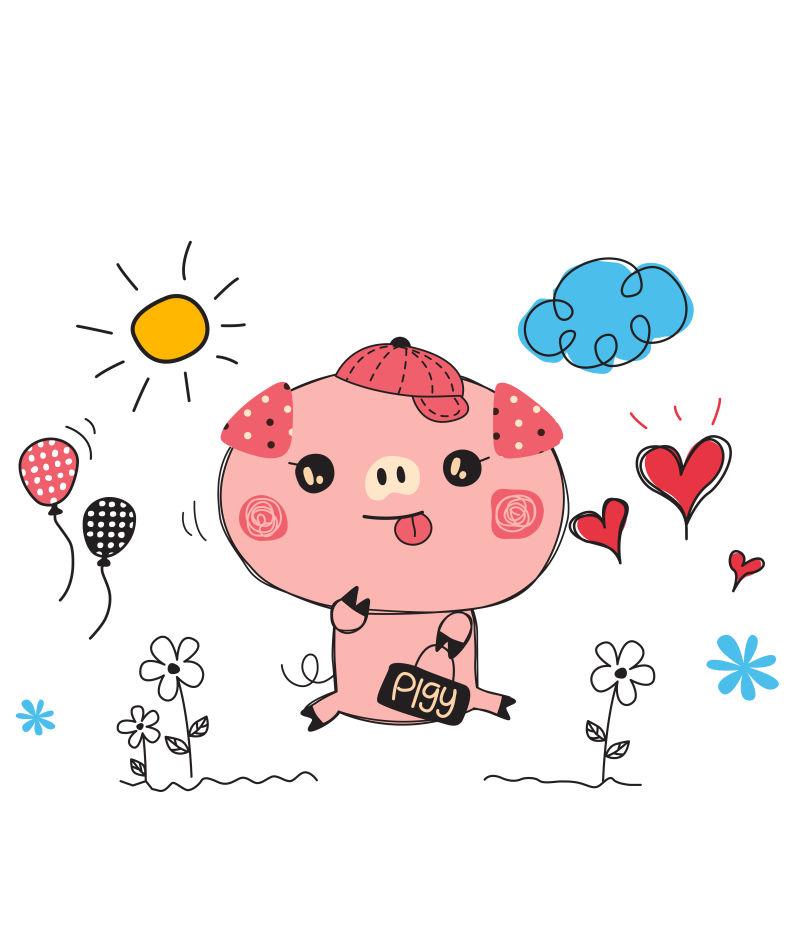 矢量粉色的卡通猪