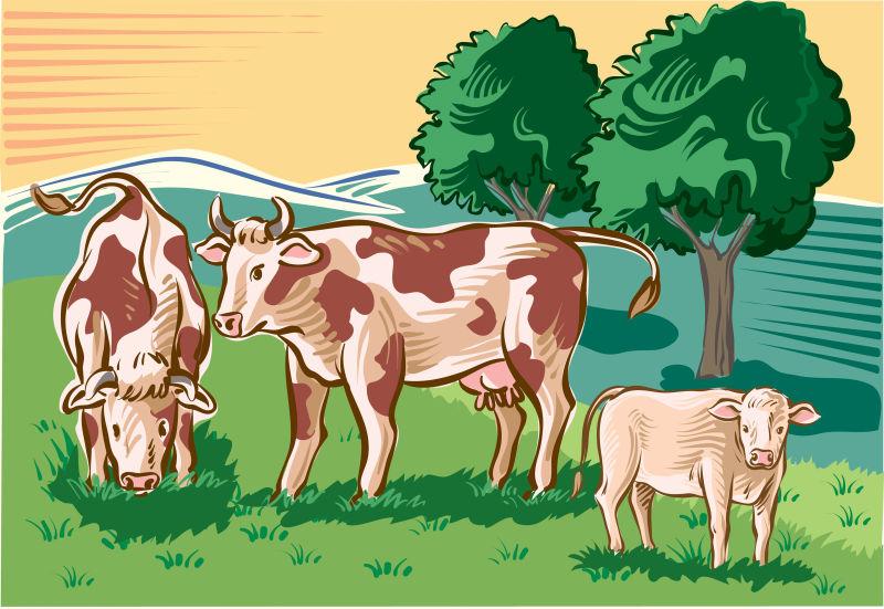 矢量创意农场中的奶牛插图设计